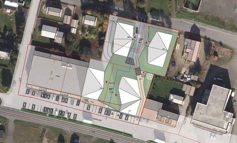 Plasseringen: Slik ser arkitekten for seg at tomta skal utnyttes. Grønt er felles utearealer og hvitt/grått er bygninger.Ill: AMB arkitekter AS