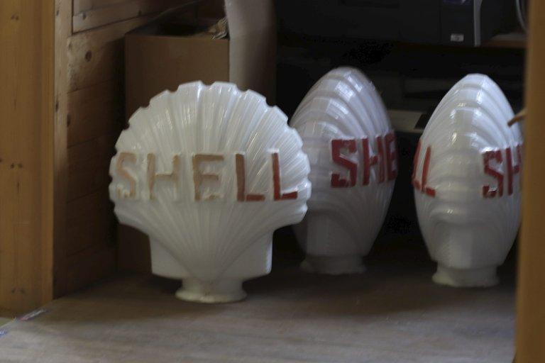 Originalen: Slik så de gamle Shell-skiltene ut, med sitt karakteristiske snitt.