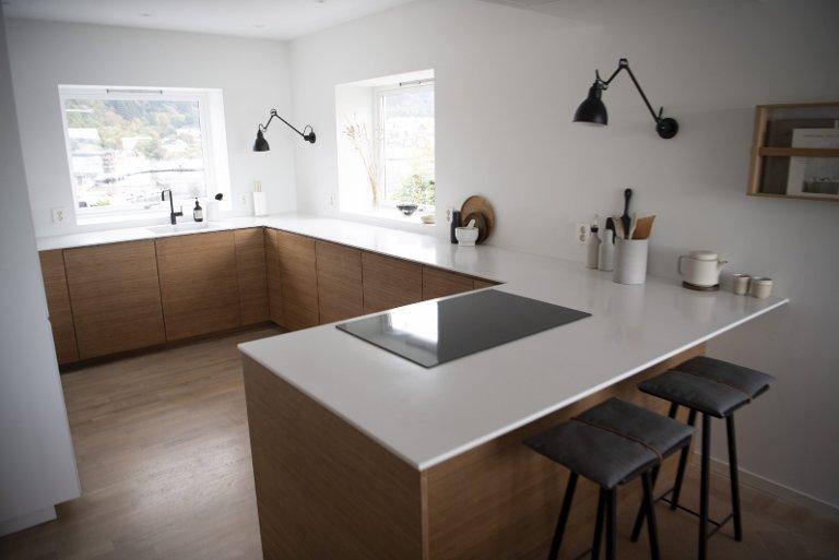 Kjøkkenfrontene i bambus er norsk design, og gir et mer eksklusivt uttrykk til Ikea-«innmaten».