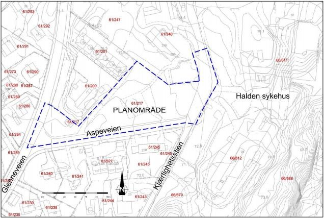 PLANOMRÅDET: Skissen viser hvilket område som nå skal detaljreguleres til bolig. Det er tenkt at veien som går til eiendommene 61/200 og 61/201, skal opprettholdes. Innkjøring til de nye boligene er tenkt fra Kjærlighetsstien.