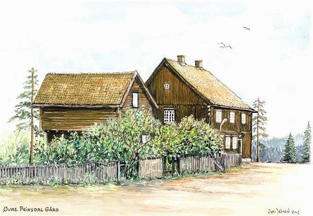Akvarell av Turi Jahren. Hun har laget nydelige akvareller av alle de gamle gårder i Søndre Nordstrand.