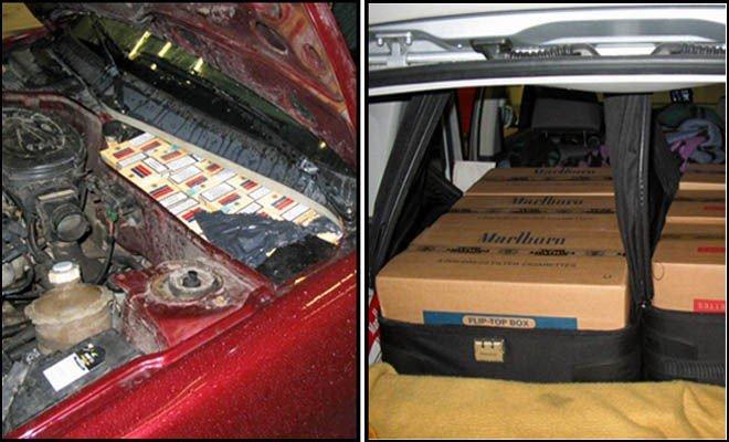 TO LØSNINGER: Mens den ene blant annet gjemte sigarettene i motorrommet, la den andre sigarettene i noen kofferter.