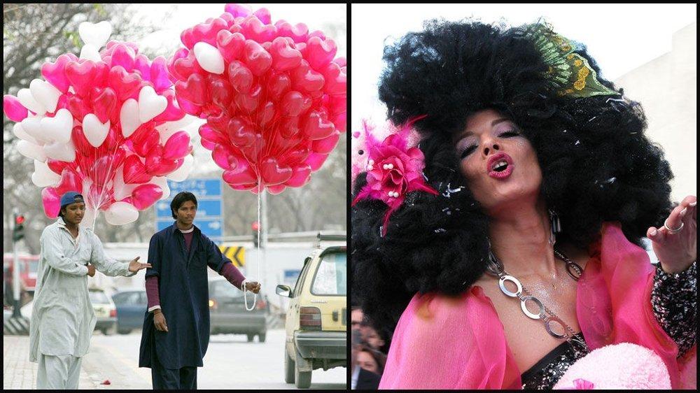 MERKERDAGER: I Pakistan er Valentinsdagen populær, i Venezia er det karnevalet som gjelder.