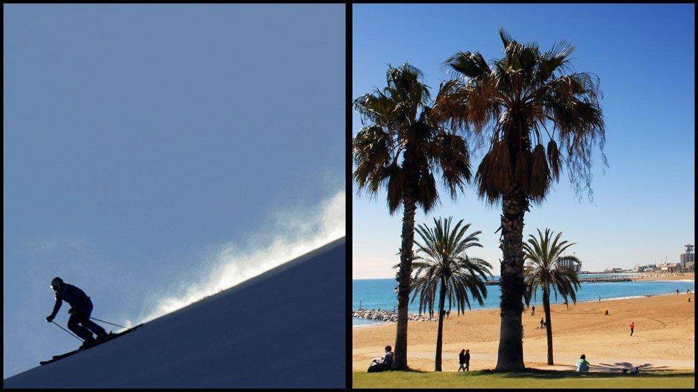 SKI OG STRAND: Barcelona har sandstrender midt i byen, og skibakker kun en kort biltur unna.