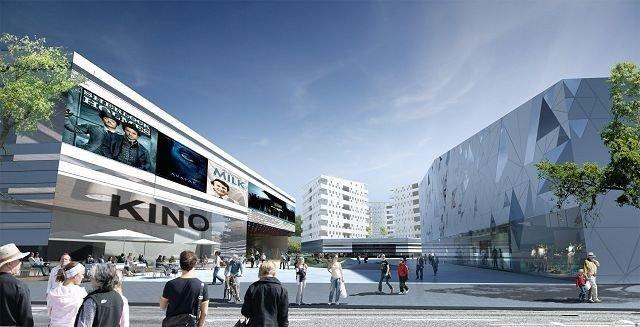 Dersom politikerne sier ja til Økern-utbygging, vil et slikt kino-bygg kunne reise seg i 2015. Illustrasjon: MIR AS.