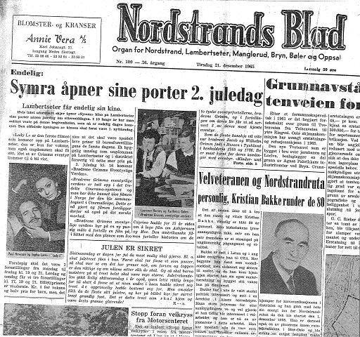 """1965: Faksimile fra Nordstrands Blad 21. desember 1965. """"Lambertseter får endelig sin kino"""". Symra åpnet 2. juledag 1965."""