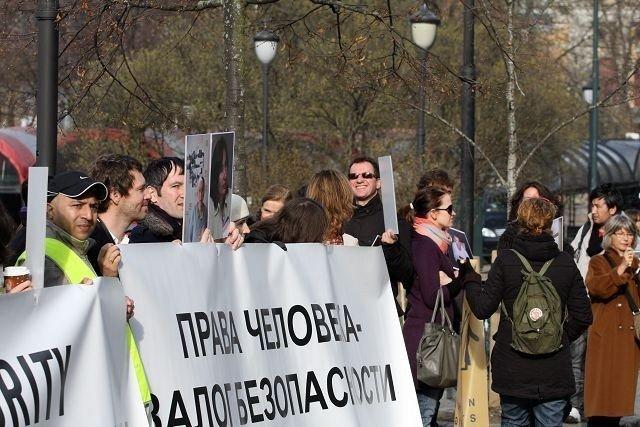 Demonstrantene holdt en fredelig markering.
