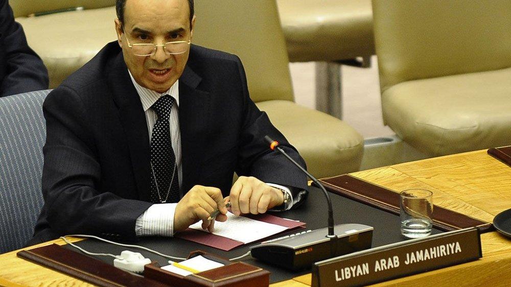 Libyas Ambassadør til FN, Ibrahim Dabbashi, taler under lørdagens møte i sikkerhetsrådet.