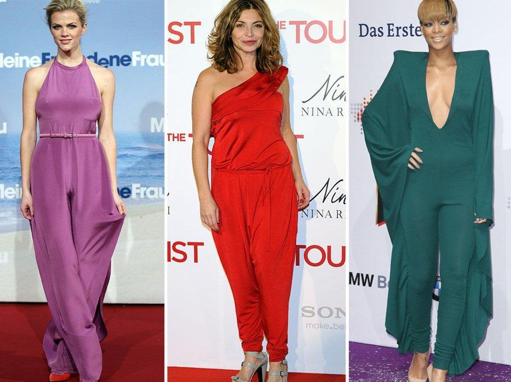 STERKE FARGER: Brooklyn Decker, Neus Asensi og Rihanna i buksedresser i livlige farger.
