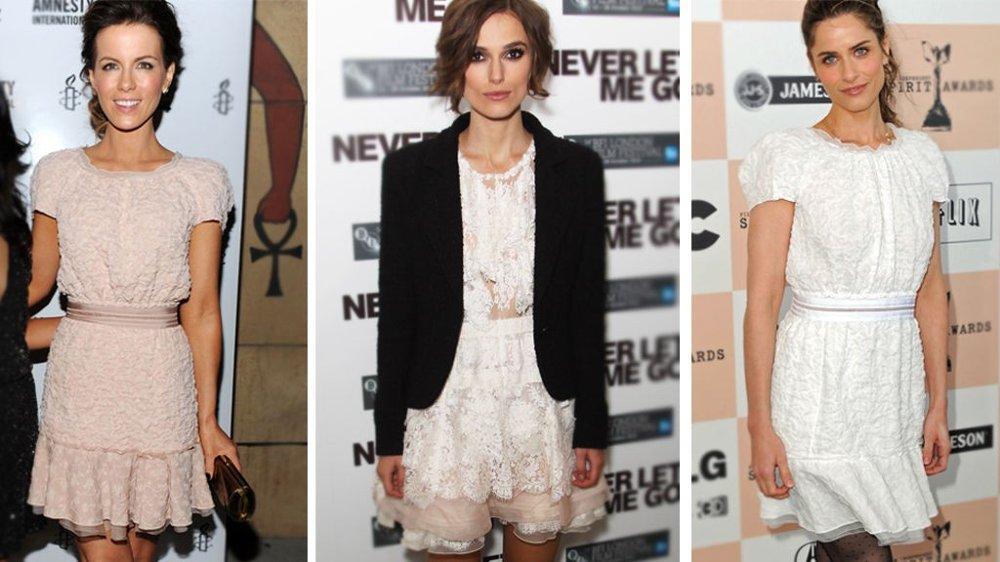 NINA RICCI: Både Kate Beckinsale, Keira Knightley og Amanda Peet har falt for en romantisk blondekjole fra Nina Ricci.