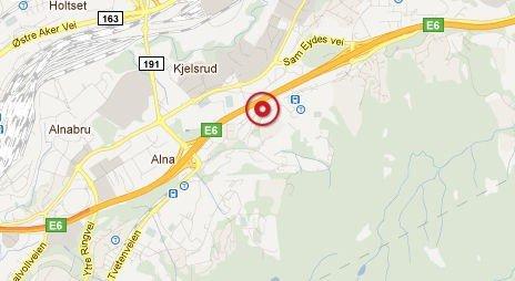 Kjedekollisjonen skjedde på motorveien ved Ikea.