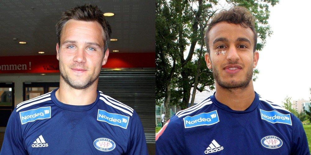 POSITIVE: To av Vålerengas viktigste spillere, kaptein Kristofer Hæstad (t.v) og Mohammed Fellah ser positivt på forhandlingene om å få John Carew til å ta på seg Vålerenga-drakten igjen denne høsten.