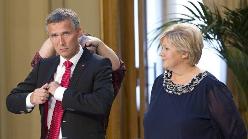 Jens Stoltenberg og Høyres leder Erna Solberg