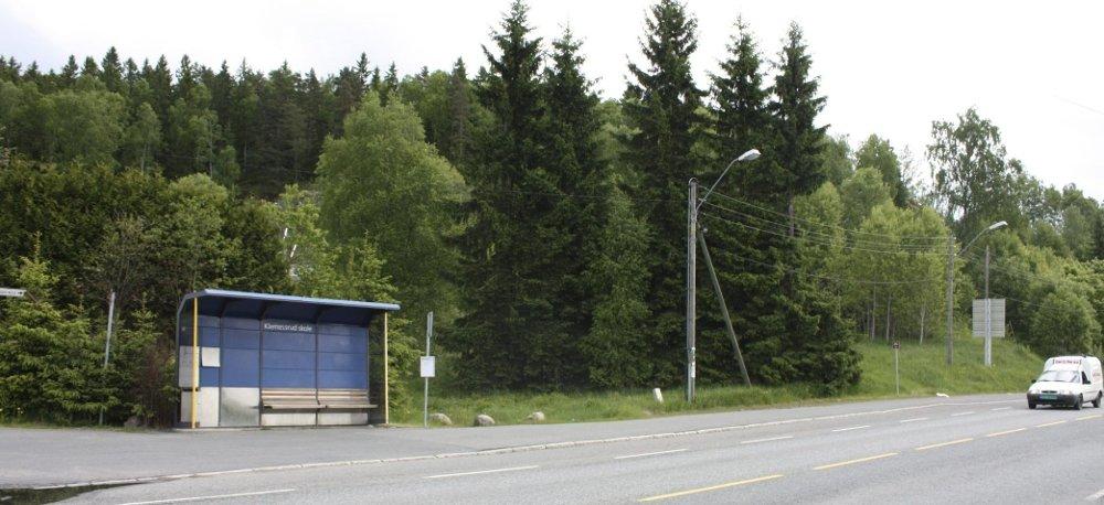 HOLDEPLASS PÅ RETT STED: Innflyttere i de nye boligene som skal bygges bak bussholdeplassen ved Klemetsrud skole, trenger ikke gå langt til nærmeste kollektivtransport. Her går bussen blant annet til sentrum. Foto: Aina Moberg