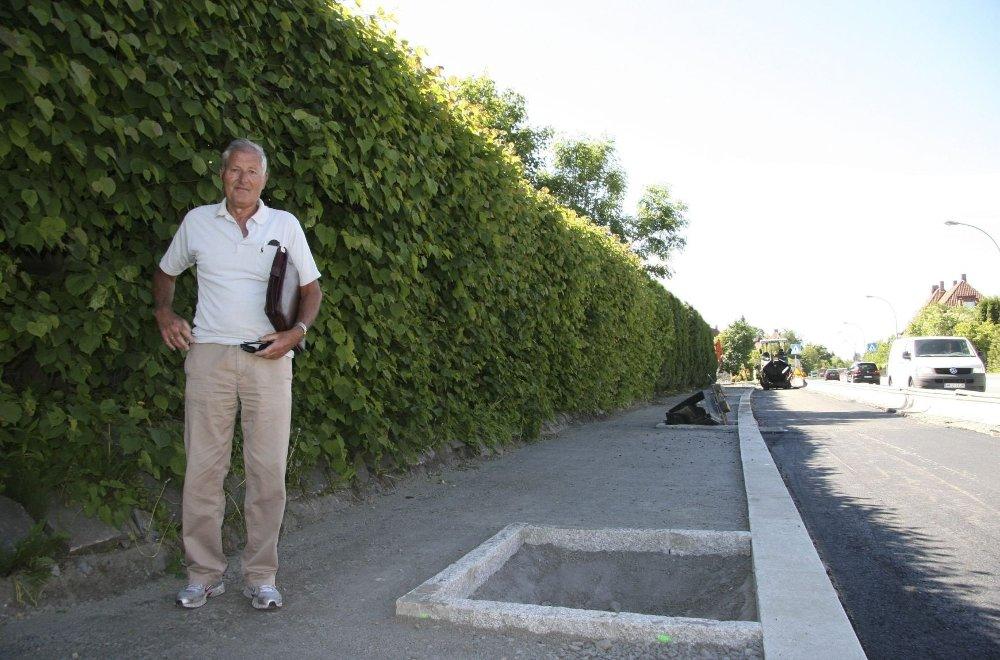 """GRØNT: – Bedre å droppe trærne, når de så til de grader går på bekostning av bredden, ifølge Bjørn Jensen. """"Trekummen"""" til høyre. FOTO: Kristin Tufte Haga"""