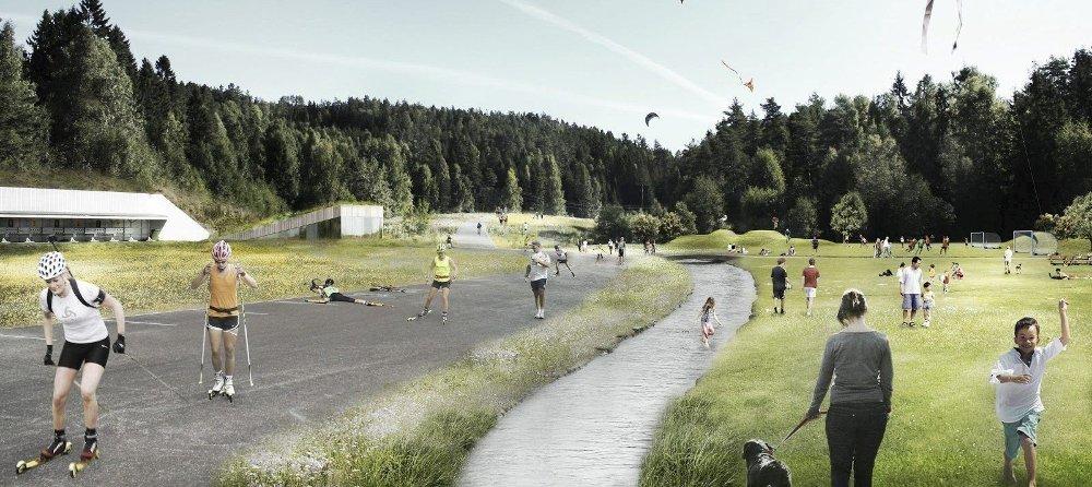 FRA SØPPEL TIL IDRETTSARENA: Slik ser arkitektene for seg at det kan blir på Grønmo, dersom Oslo ender som vertsby for vinter-OL 2022.