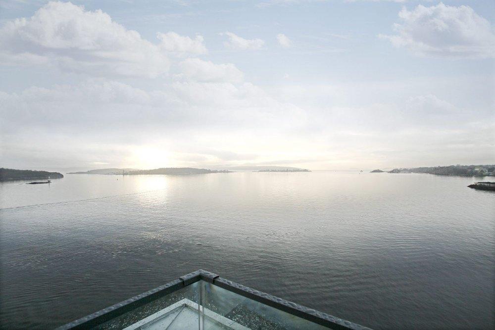 TJUVHOLMEN: Fra boligen i Kavringen Brygga 3 har du utsikt fra Hovedøya til Holmenkollen.
