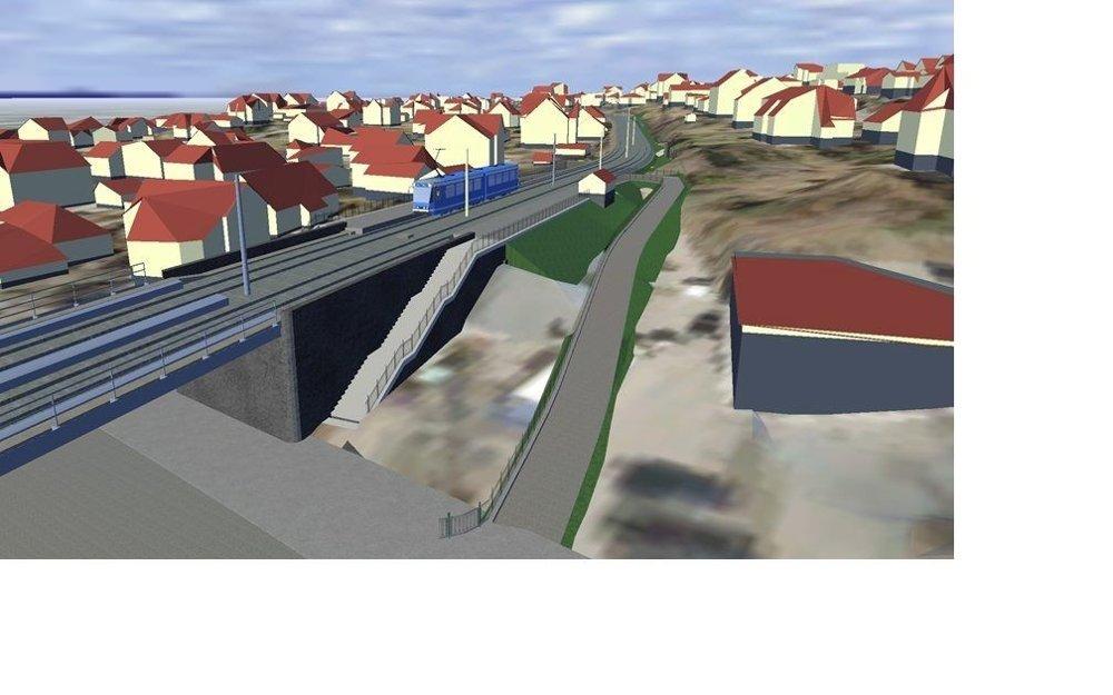 SÆTER STASJON: Ny trikkebro på Sæter, nye stasjon og nye adkomstveier. Slik skal det bli fra 1. oktober.