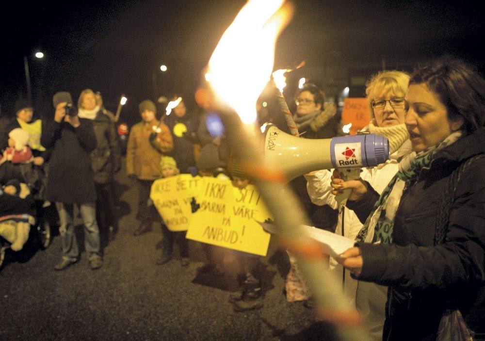 MOTSTAND: Konkurranseutsettingen har mange motstandere, her fra en tidligere demonstrasjon.