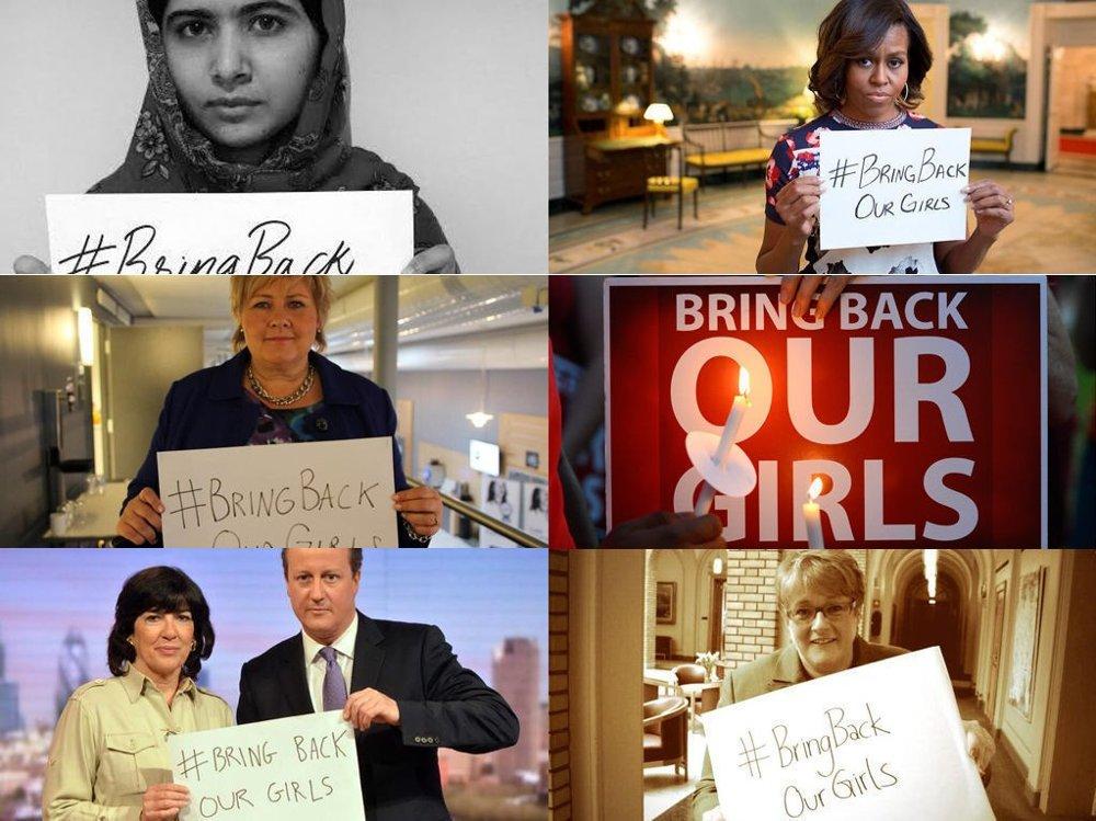 USAs førstedame Michelle Obama, den pakistanske tenåringsaktivisten Malala Yousafzai, Storbritannias statsminister David Cameron, statsminister Erna Solberg, Venstre-leder Trine Skei Grande er blant dem som har sluttet seg til kampanjen #BringBackOurGirls. Kampanjen startet med at en nigeriansk advokat, Ibrahim M. Abdullahi, tvitret hashtaggen #BringBackOurGirls i slutten av april. To uker senere har det blitt en verdensomspennende kampanje som støttes av en rekke kjendiser og politiske aktører.