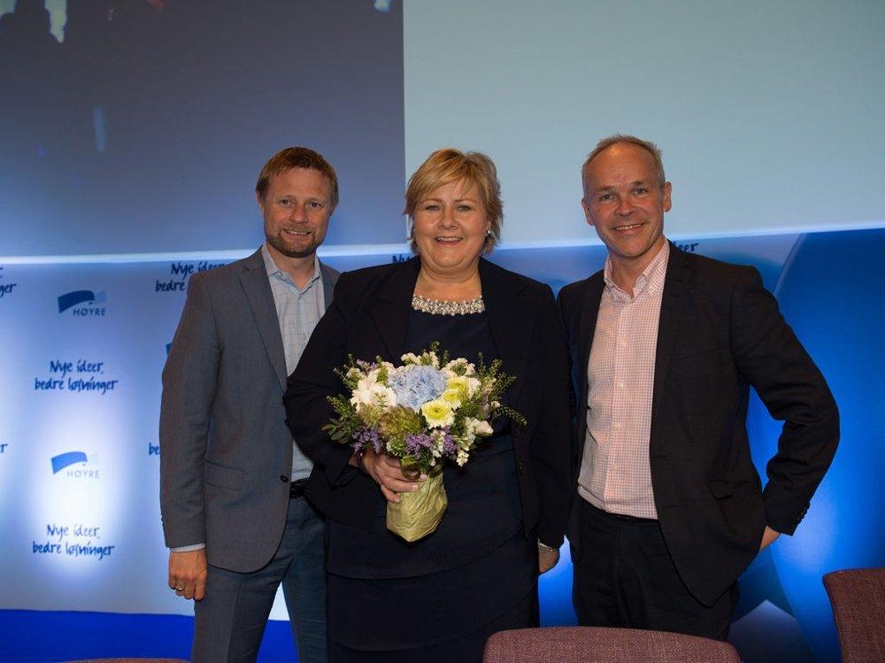 ØKER: Siden juni har Høyres oppslutning økt med 2,8 prosentpoeng. Her er Høyres ledertrio på landsmøtet i våres, Bent Høie, Erna Solberg og Jan tore Sanner.