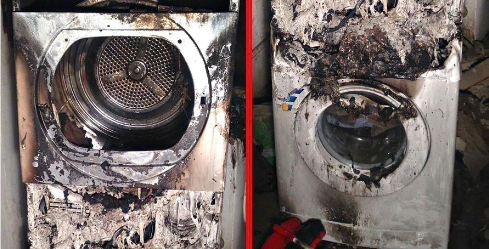 BRENT: Både vaskemaskinen og tørketrommelen, som sto oppå hverandre, har store skader etter brannen. (Se originalbildet lenger ned i saken.) (Foto: Vestfold interkommunale brannvesen)