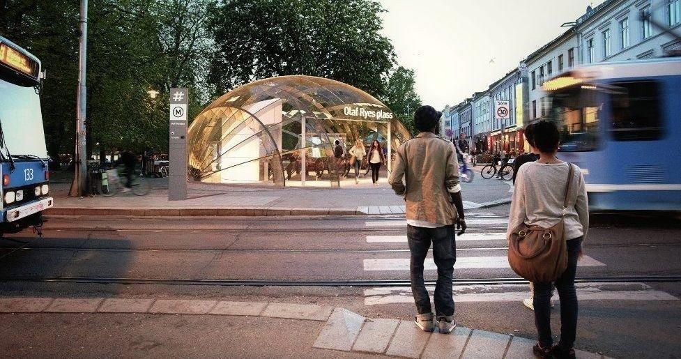 Slik ser Ruter for seg at en ny t-baneholdeplass på Grünerløkka kan bli seende ut. En ny t-banetunnel gjennom Oslo er en av de viktigste investeringene i årene som kommer.