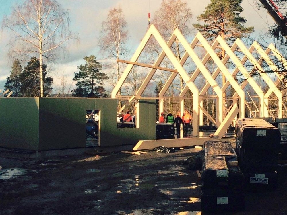NYTT BYGG: Bærekonstruksjonene og veggene til de nye byggene reises nå på Utøya.