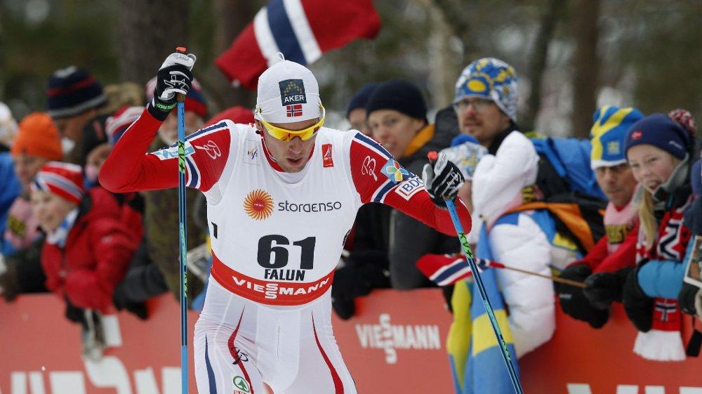 SKUFFET: Chris Andre Jespersen fikk det tungt under herrenes 15 km individuell fristil i ski-VM i Falun onsdag.