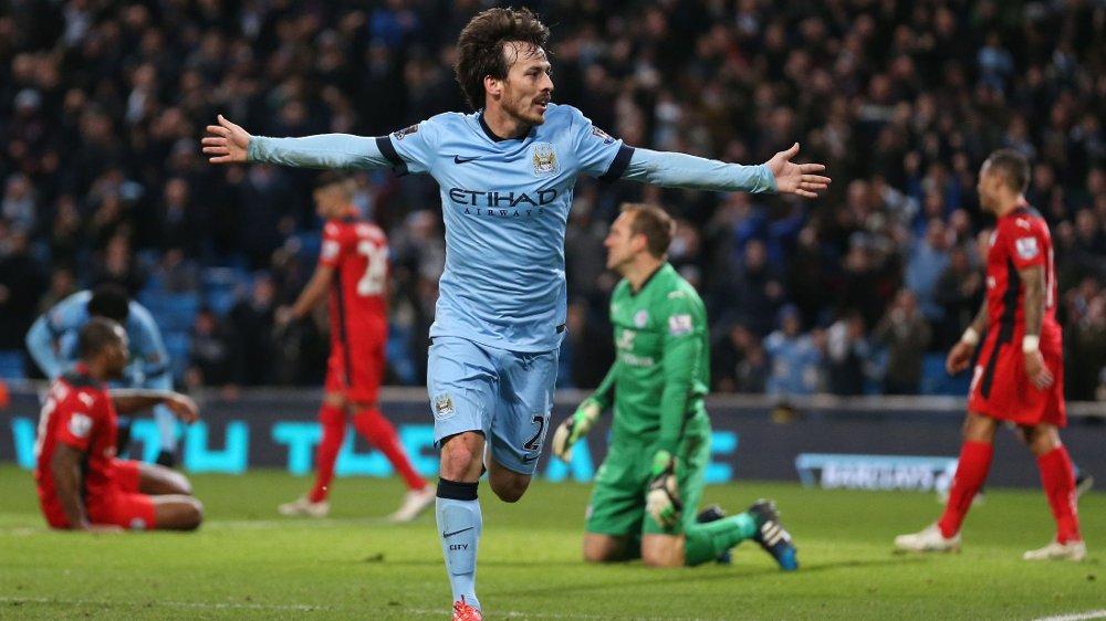 SCORET: Manchester Citys David Silva satte inn kampens første mål på Ethiad Stadium onsdag kveld.
