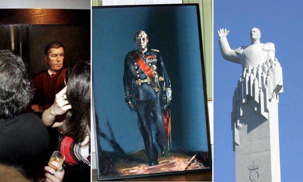 UPOPULÆR: Ikke all kunst faller i smak. Vebjørn Sands maleri av Stein Erik Hagen (f.v.), Håkon Gullvågs portrett av kong Harald og billedkunstner Håkon Steens statue av kong Olav.
