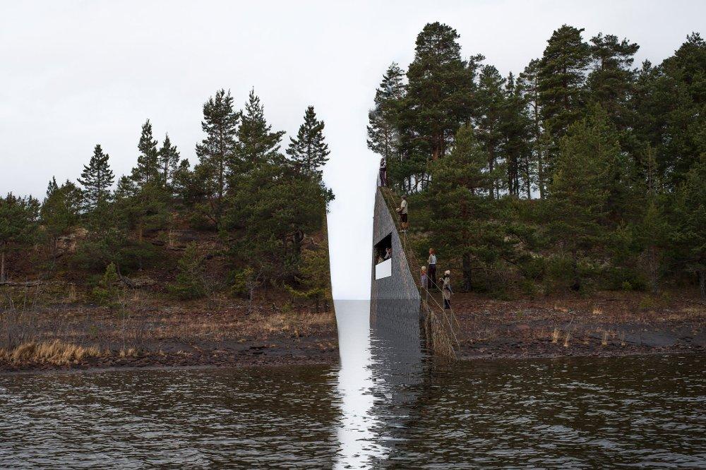 Materiale skal graves ut fra Sørbråten ved Utvika og på den maten skape et arr i landskapet til minne om 22. juli. Massene som graves ut skal brukes i et minnested i regjeringskvartalet i Oslo.
