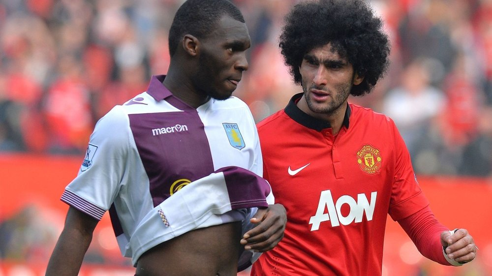SELGES? Aston Villas Christian Benteke kobles til flere storklubber. Her sammen med Manchester Uniteds Marouane Fellaini.
