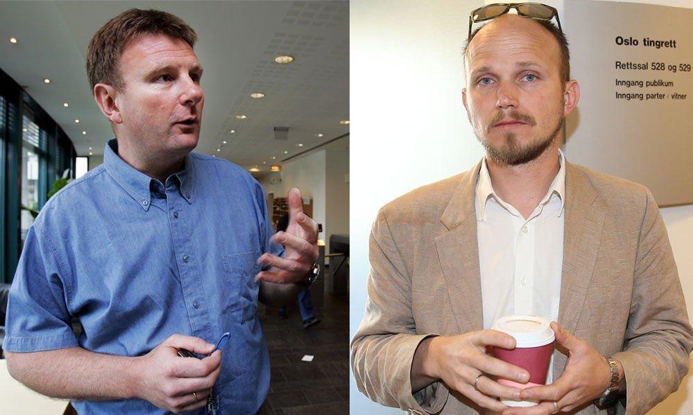 HÅNDHILSTE PÅ NABOEN: Men Jon Gelius (t.v.) ville ikke at seansen med nabo Fredrik Otterstad skulle bli tatt bilde av.