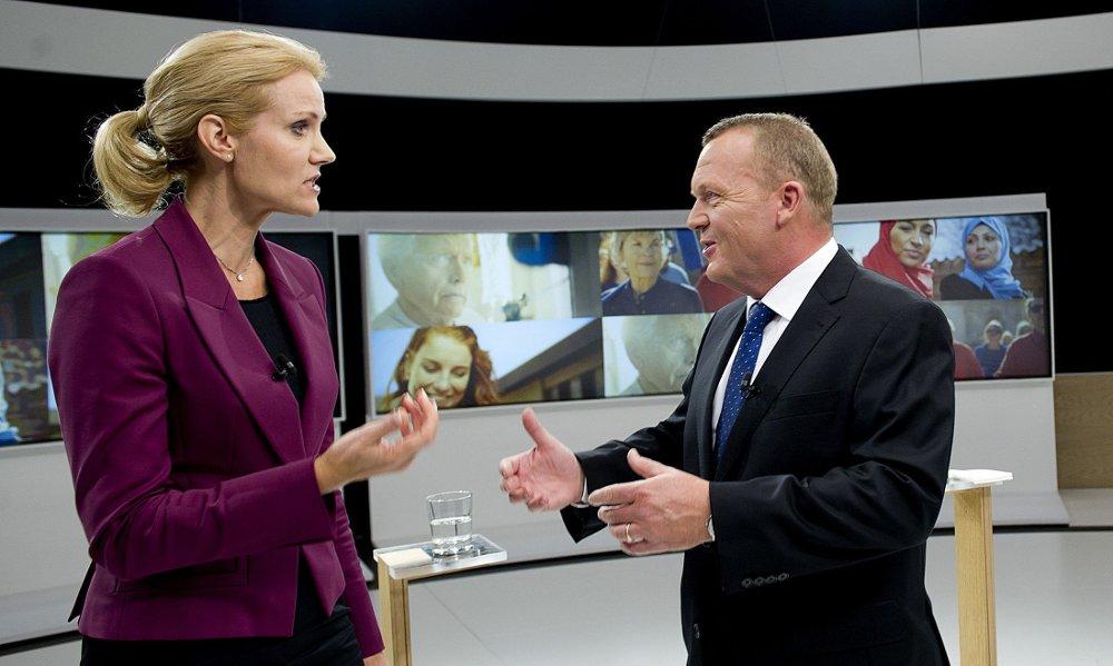 VALGTHRILLER: De danske Socialdemokraternes statsministerkandidat Helle Thorning-Schmidt og statsminister Lars Løkke Rasmussen kjemper mot hverandre i det danske valget.