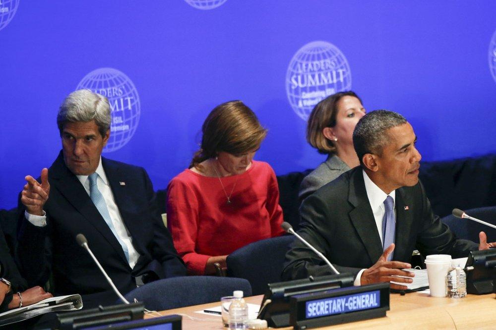 USAs president Barack Obama tok initiativ til FN-toppmøtet. Til venstre sitter utenriksminister John Kerry og USAs FN-ambassadør Samantha Power.