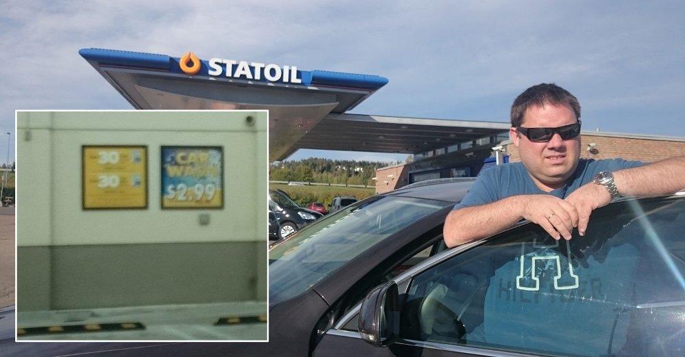 STORE PRISFORSKJELLER: Tom Major reagerer kraftig på de store prisforskjellene på bilvask mellom Norge og USA. I USA så han bilvask til 25 kroner. I Norge starter prisen på rundt 200-lappen.