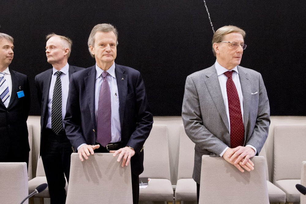 Oslo januar 2015: Konsernsjef Jon Fredrik Baksaas og styreleder Svein Aaser i Telenor møter i kontroll- og konstitusjonskomiteens åpne høring om Vimpelcom-saken i Stortinget.