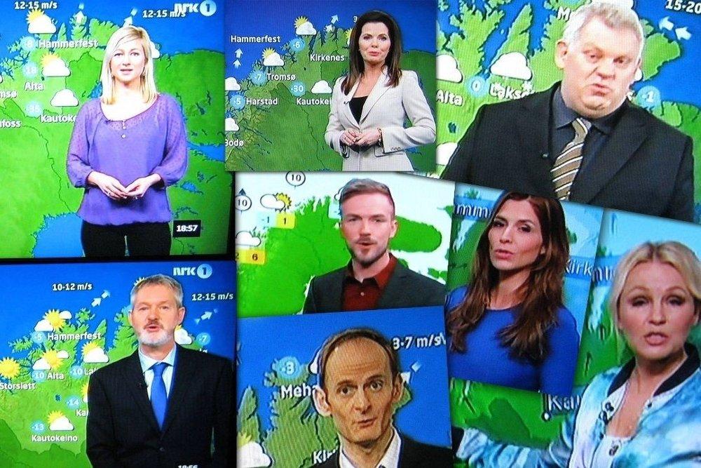 DETTE HAR DE TIL FELLES: Værmelderne i NRK og TV2 har alle til felles at de dekker for Øst-Finnmark når de melder været. Fotomontasje: Rolf Sund