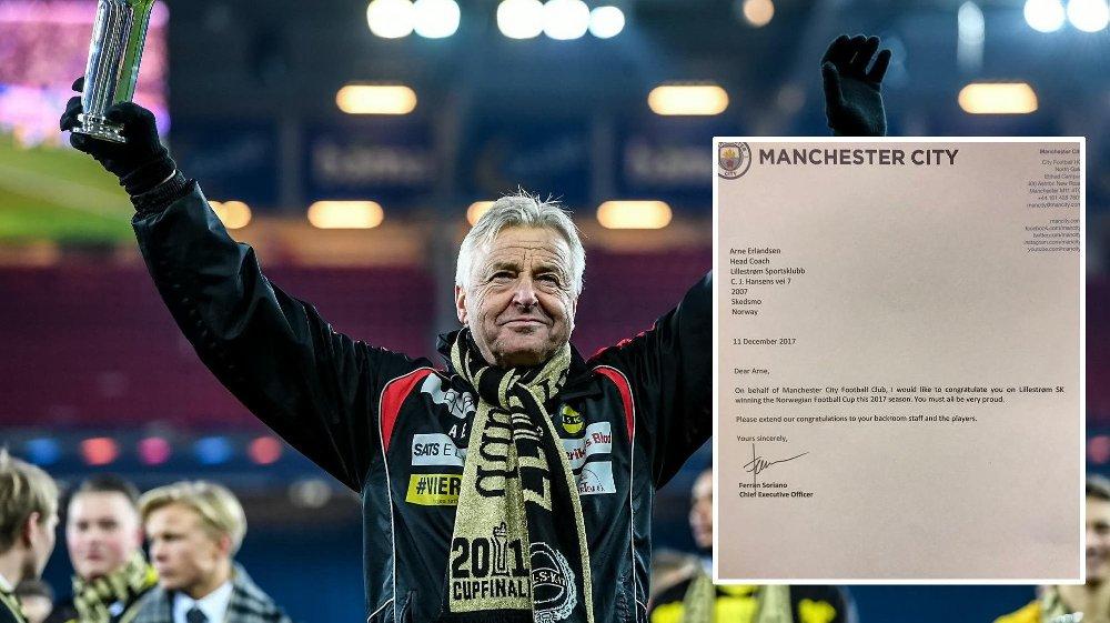 GRATULERER!: Manchester City sendte gratulasjon til LSK og Arne Erlandsen.