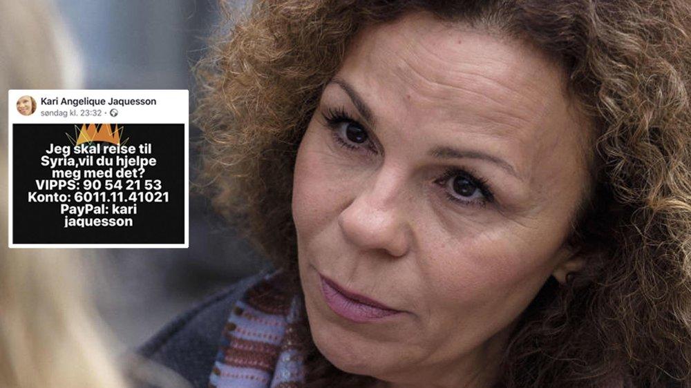 Kari Jaquesson har startet kronerulling for å reise til krigsherjede Syria. Hun kommer samtidig med krass kritikk til norske medier og statsministeren