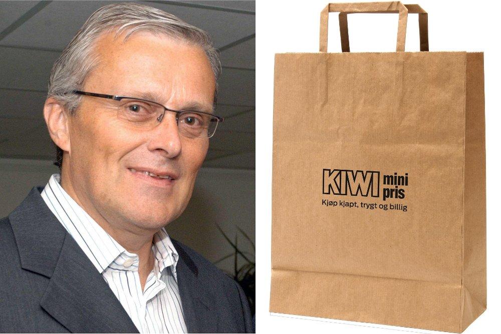 PAPIRPOSE: Dagligvareekspert Odd Gisholt reagerer på prisen på papirposene på Kiwi, og mener de burde kostet det samme, eller mindre, enn plastposene.