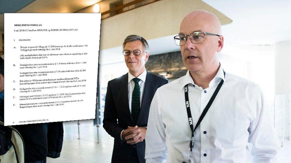 KRITISERER JOURNALISTER: Kringkastingssjef Thor Gjermund Eriksen mener NJ-journalistene i NRK krever mer enn alle andre. Her er Eriksen sammen med juridisk direktør Olav Nyhus etter bruddet.