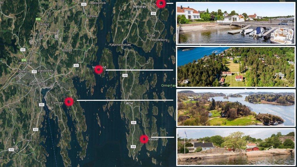 RÅDYRE EIENDOMMER: Flere eiendommer med prislapp over 25 millioner kroner selges nå langs denne kyststripa.