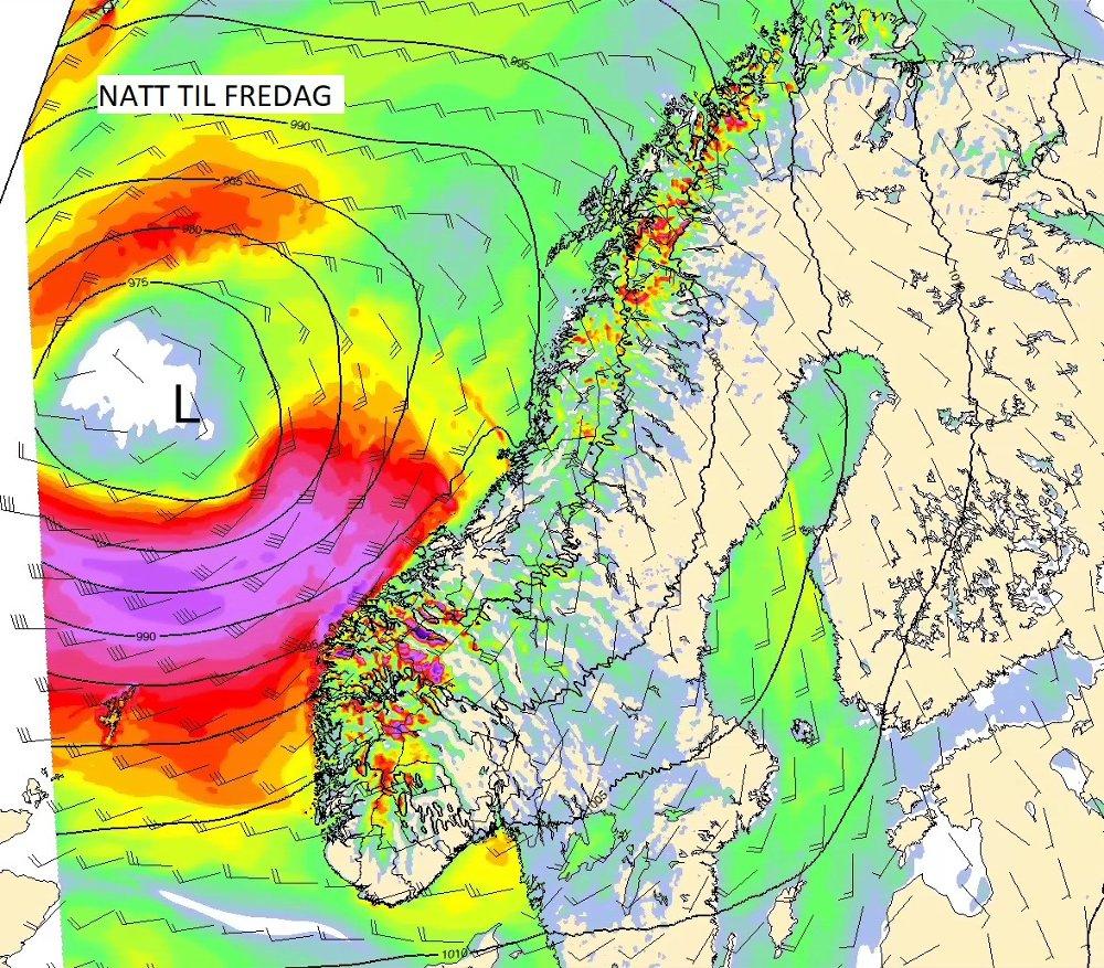Kartet viser vind natt til fredag, der lilla farge er sterk kuling til storm styrke.