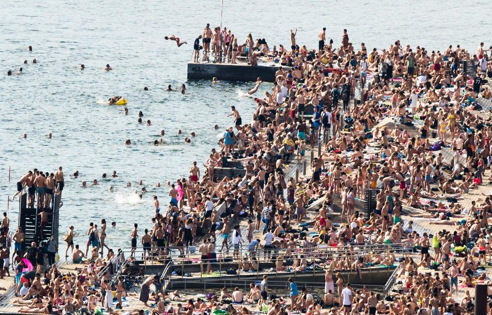 Slik så det ut 30. mai på populære Sørenga sjøbad.