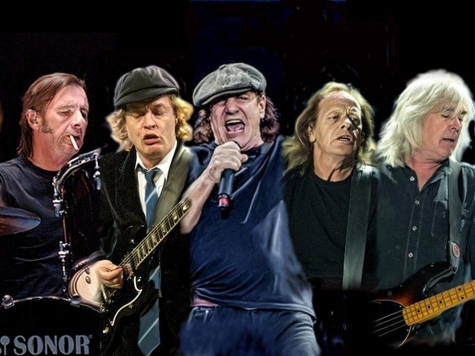 Photo art design av AC/DC medlemmene fra venstre: Phil Rudd, Angus Young, Brian Johnson, Stevie Young & Cliff Williams