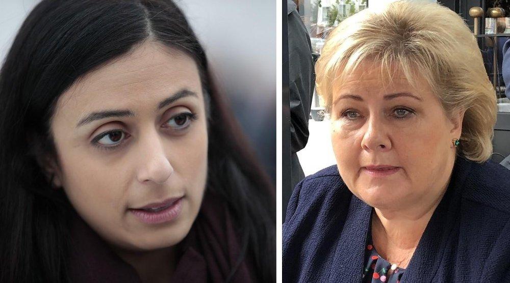 Statsminister Erna Solberg (H) mener Ap kom med uambisiøse mål om å skape nye jobber i valgkampen i fjor. Arbeiderpartiets nestleder Hadia Tajik (til venstre) slår kraftig til motmæle.