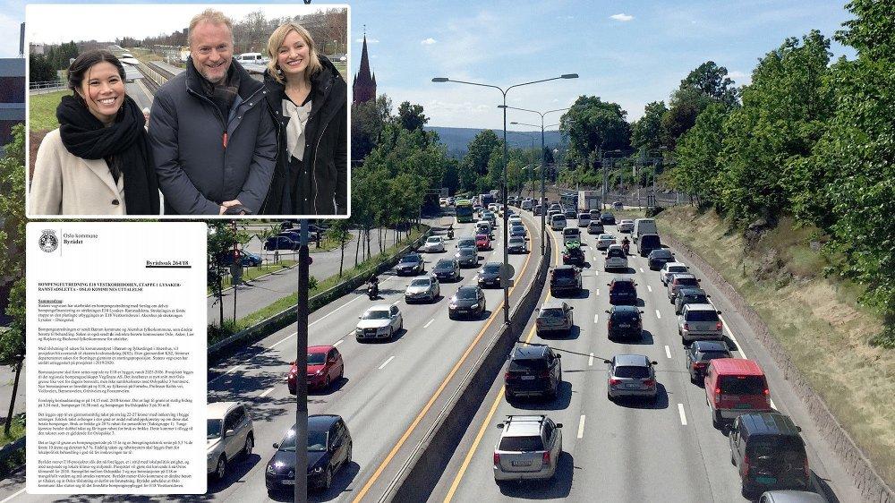 Byrådet i Oslo skriver at de er mot utbygging av en ny E18 vest for Oslo fordi det vil føre til mindre trafikk inn til Oslo - og at bompengene vil gå til å betale for vei.