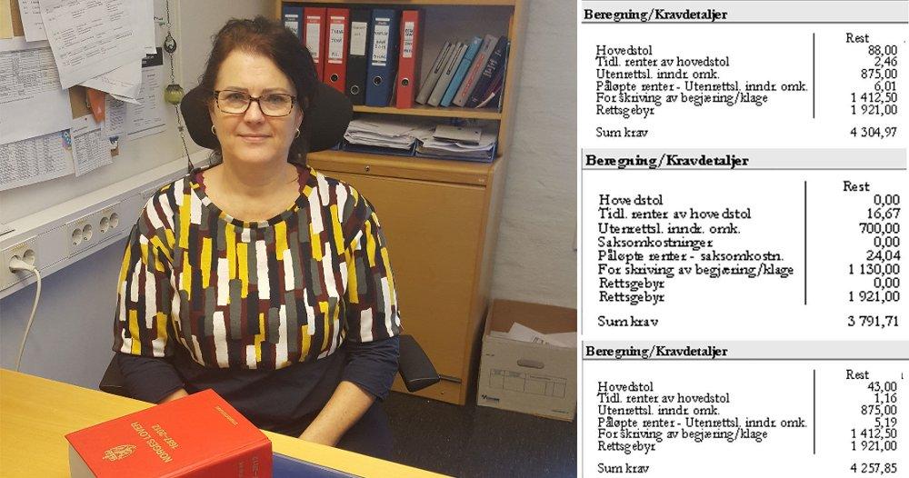 SMÅKRAV: Seksjonssjef Monica Lægreid ved Moss politistasjonsdistrikt i Øst politidistrikt sier at mange som jobber med statlig innkreving gjennom namsmannen, er oppgitt over den kraftige økningen i antall småkrav. Eksemplene til høyre viser hvordan småkrav vokser til betydelige beløp.